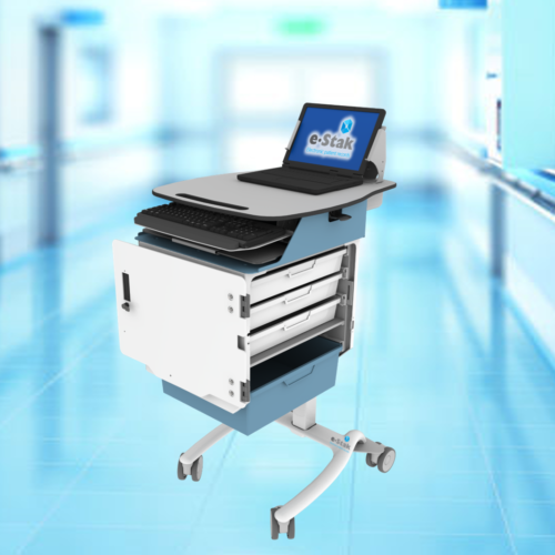 A3 Electronic Medication Cart Laptop Front Open